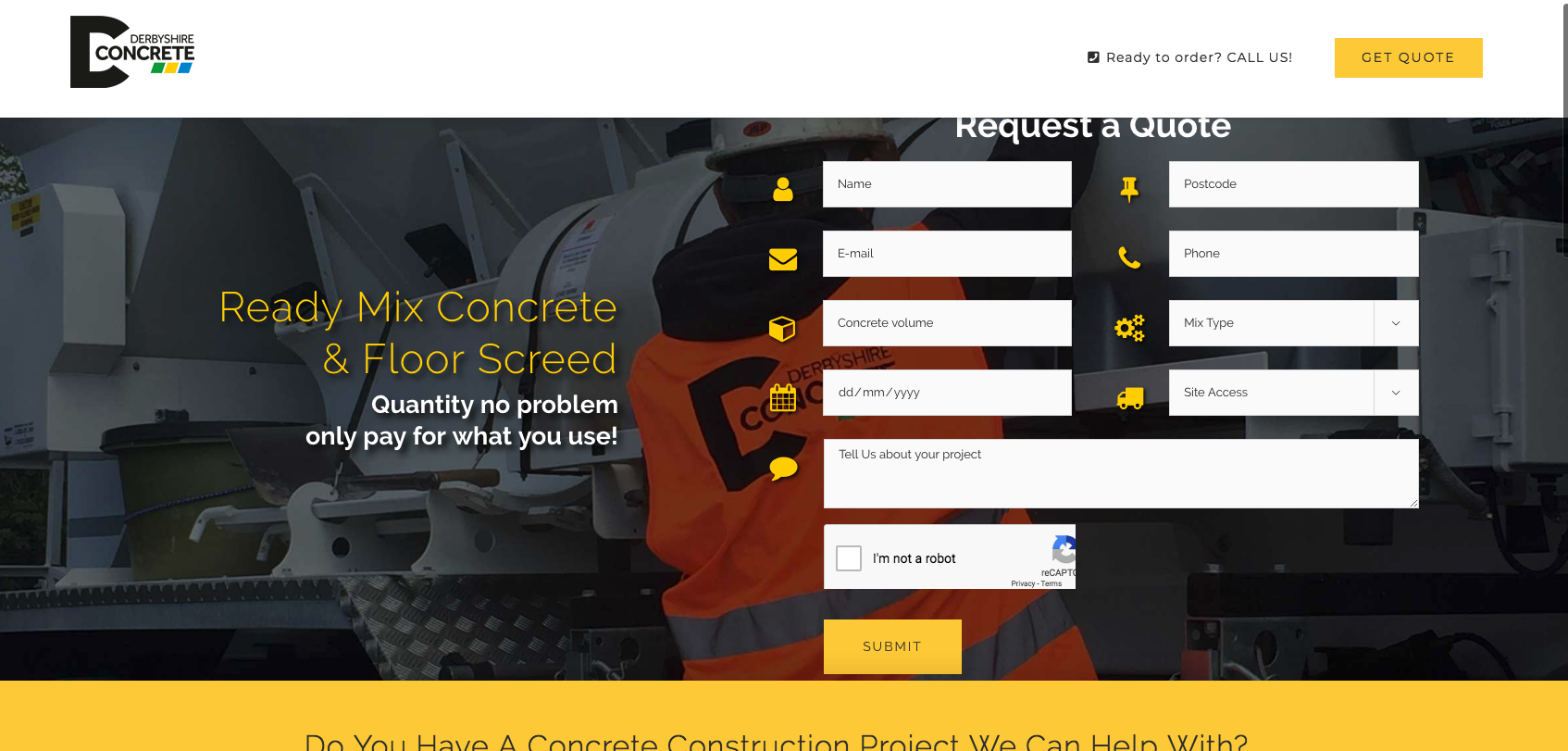 Derbyshire concrete landing page web build